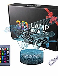 cheap -3D LED Night Light Lamp Biplane Aircraft Abstractive Optical Illusion Night Light 16Color ChangeTouch Switch USB PoweredBirthday Christmas Cool Gift for Child