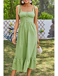 cheap -Women's Strap Dress Midi Dress Green Sleeveless Solid Color Summer Boat Neck Casual Holiday 2021 XS S M L / Cotton / Cotton