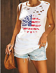 cheap -Women's Independence Day Tank Top Vest Sunflower American Flag Stars and Stripes Cut Out Print Round Neck Basic Streetwear Tops Cotton White Army Green Black