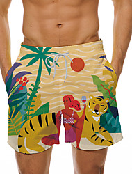 cheap -Men's Casual Designer Quick Dry Breathable Shorts Bermuda shorts Board Shorts Beach Swimming Pool Pants Tiger Coconut Tree Animal Short 3D Print Drawstring Elastic Waist Yellow / Summer