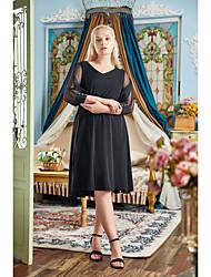 cheap -A-Line Little Black Dress Plus Size Homecoming Prom Dress V Neck 3/4 Length Sleeve Knee Length Stretch Fabric with Sleek 2021