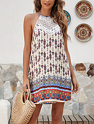 cheap -Women's A Line Dress Maxi long Dress M size weight: 35g Composition: 100 rayon Apricot Sleeveless Paisley Summer Boho Loose 2021 S M L XL