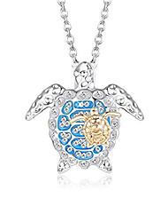cheap -cassieca cute blue sea cz turtle y pendant necklace health longevity ocean jewelry for women men gift
