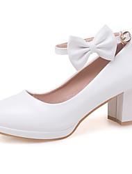 cheap -Girls' Heels Comfort Tiny Heels for Teens Princess Shoes PU Little Kids(4-7ys) Big Kids(7years +) White Pink Beige Spring &  Fall