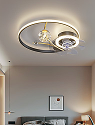cheap -LED Ceiling Fan Light Black Gold 50 cm Circle Ring Design Ceiling Fan Aluminum Artistic Style Vintage Style Modern Style Painted Finishes 220-240V 110-120V