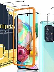 cheap -[2+2 pack] uniqueme camera lens protector and screen protector for samsung galaxy a71 4g / 5g,tempered glass [easy installation frame] hd clear [anti-scratch] [bubble free]