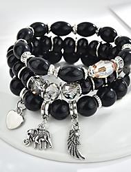 cheap -boho bracelet wings peach heart elephant tassel multi-layer bracelet