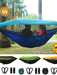 cheap -Camping Hammock with Pop Up Mosquito Net Outdoor Portable Sunscreen UV Resistant Anti-Mosquito Ultra Light (UL) Parachute Nylon with Carabiners and Tree Straps for 1 - 2 person Hunting Fishing Camping