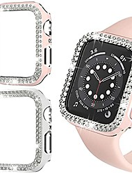 cheap -Smart watch Case 2 pack bling case compatible with apple watch 40mm se series 6/5/ 4 hard pc double row crystal diamond plated cover shockproof bumper all-around protective iwatch