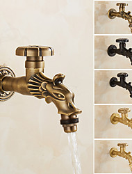 cheap -Outdoor Faucet - Patio Wall Mount Antique Brass Widespread Single Handle One HoleBath Taps, 3-Finish Antique Black Gold
