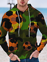 cheap -Men's Pullover Hoodie Sweatshirt Graphic Prints Football Soccer Print Hooded Daily Sports 3D Print 3D Print Casual Hoodies Sweatshirts  Long Sleeve Green
