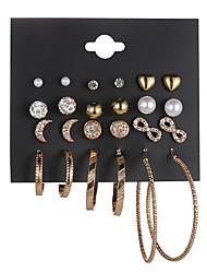 cheap -earrings set moon and stars 12 pairs multi-to-one card earrings female diamond jewelry