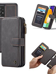 cheap -CaseMe Leather Flip Phone Case For Samsung Galaxy S21 Ultra S21 Plus S20 Ultra A72 A52 A71 A51 Retro Magnetic Detachable 2 in 1 Multi-Functional 14 Card Slots Wallet Full Body Protective Case