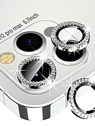 cheap -xfilm diamond camera lens protector for iphone 12 pro max, hd clear tempered glass screen protection + alloy full fit lens ring cover, case friendly, scratch proof (silver)