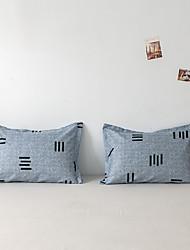 cheap -2 Pack 50*75cm Pillowcases/Pillow Shams Print Soft Microfiber Striped Blue