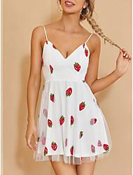 cheap -Women's Strap Dress Short Mini Dress White Sleeveless Print Backless Print Summer V Neck Casual Holiday 2021 XS S M L XL