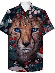 cheap -Men's Shirt 3D Print Floral Leopard Animal Plus Size 3D Print Button-Down Short Sleeve Casual Tops Casual Fashion Breathable Comfortable Rainbow