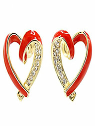 cheap -enameled red heart gold tone pave cz stud pierced earrings love gift