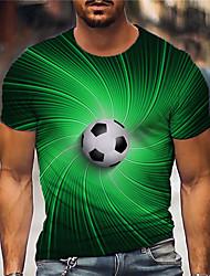 cheap -Men's Tee T shirt Shirt 3D Print Graphic Prints Football Soccer Football player Print Short Sleeve Daily Tops Casual Designer Big and Tall Green / Summer