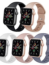 cheap -tsaagan 5 pack sport silicone band compatible for apple watch band 38mm 40mm 42mm 44mm, soft replacement strap accessory wristband for iwatch series se/6/5/4/3/2/1 women men