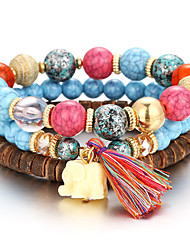 cheap -Women's Bead Bracelet Beaded Layered Stacking Stackable Ball Rainbow Ladies Personalized Natural Fashion Balance of the Power Acrylic Bracelet Jewelry Red / Blue / Rainbow For Christmas Gifts Party