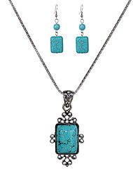 cheap -jewelry set turquoise necklace and earrings set square alloy necklace and earrings set