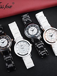 cheap -Missfox white round waterproof high-end ceramic watch for women simple compact