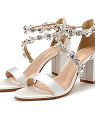 cheap -Women's Wedding Shoes Chunky Heel Open Toe Satin Rhinestone Solid Colored Wine White Light Purple
