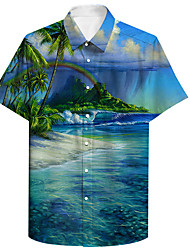cheap -Men's Shirt 3D Print Scenery Coconut Tree Plus Size 3D Print Button-Down Short Sleeve Casual Tops Casual Fashion Breathable Comfortable Blue / Sports