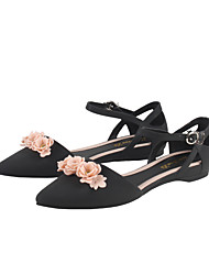cheap -Women's Sandals Flat Heel Pointed Toe PVC Buckle Floral Purple Black Blue