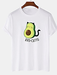 cheap -Men's Unisex Tee T shirt Hot Stamping Graphic Prints Avocado Plus Size Print Short Sleeve Casual Tops Cotton Basic Designer Big and Tall White Black Khaki