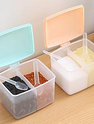 cheap -1pc Lid Container Seasoning Box Herb Sugar Salt Storage Box Condiment Jar Cooking Organizer Shelf Kitchen Supplie