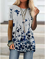 cheap -Women's Holiday Floral Theme Abstract Painting T shirt Plants Graphic Print Round Neck Basic Tops White Green