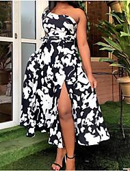 cheap -Women's A Line Dress Midi Dress Black left strapless White right strapless Sleeveless Print Leopard Print Floral Print Spring Summer Casual Sexy 2021 M L XL XXL XXXL / Cotton / Cotton