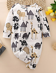 cheap -1 PC Baby Boys' Children's Day Romper Vintage White Fantastic Beasts Animal Patterned Print Long Sleeve / Fall