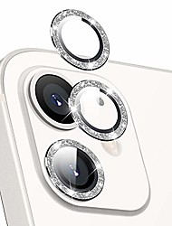 cheap -hoerrye (2pcs) for iphone 12/iphone 12 mini lens protector bling, metal full cover + tempered glass circle screen camera protection for iphone accessories - diamond