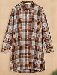 cheap -Women's Plus Size Dress Shirt Dress Knee Length Dress Long Sleeve Plaid Pocket Print Casual Summer Brown XL XXL 3XL 4XL