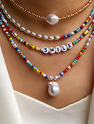 cheap -Women's Jewelry Set Beads Colorful Fashion Holiday Sweet Boho Imitation Pearl Earrings Jewelry 1# / 2# / 3# For Street Gift Prom Beach Festival 4pcs
