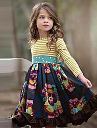 cheap -Kids Little Girls' Dress Floral Navy Blue Cotton Knee-length Long Sleeve Cute Dresses Regular Fit