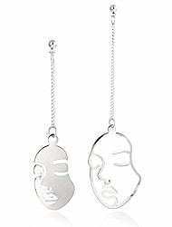 cheap -gbahfy funny face long earrings exaggerated profile face line stud earrings for women girls geometric hollow face drop dangle earrings (funny face long earrings-silver)