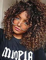 cheap -curly wigs for black women - curly afro wig with bangs ombre brown mixed color synthetic heat resistant full wigs with 1 wig comb and 4pcs wig caps