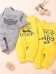 cheap -Baby Boys' Basic Letter Print Long Sleeve Romper White Yellow Gray