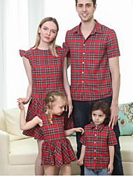 cheap -Family Look Red Daily Plaid Print Short Sleeve Knee-length Family Sets