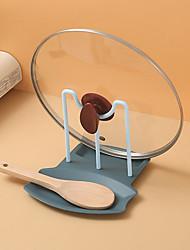 cheap -Kitchen Organizer Pot Lid Storage Rack Shelf Countertop Punch-free Spoons Pad Bracket Home Kitchen Shelves Accessories Tools
