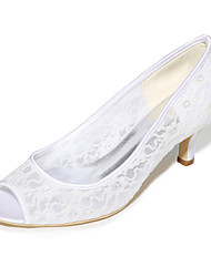 cheap -Women's Wedding Shoes Kitten Heel Peep Toe Lace Solid Colored White Black Ivory