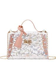 cheap -Women's Bags PVC Plastic Mobile Phone Bag Sequin Daily Office & Career Sequins Handbags Chain Bag White Blushing Pink Black