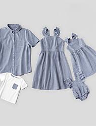 cheap -Family Look Gray Daily Striped Print Sleeveless Family Sets