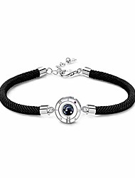 """cheap -t400 i love you necklace 100 languages projection sterling silver bracelet fashion jewellery birthday gifts for women men 6.3""""/7""""+1.2"""" extender"""