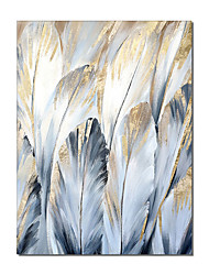 cheap -Oil Painting Handmade Hand Painted Wall Art Modern Blue and Golden  Feather Abstract  Home Decoration Decor Rolled Canvas No Frame Unstretched