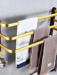 cheap -Towel Bar New Design Modern Aluminum and Wood Material 3-layer Bathroom Shelf Wall Mounted Towel Rack 1pc